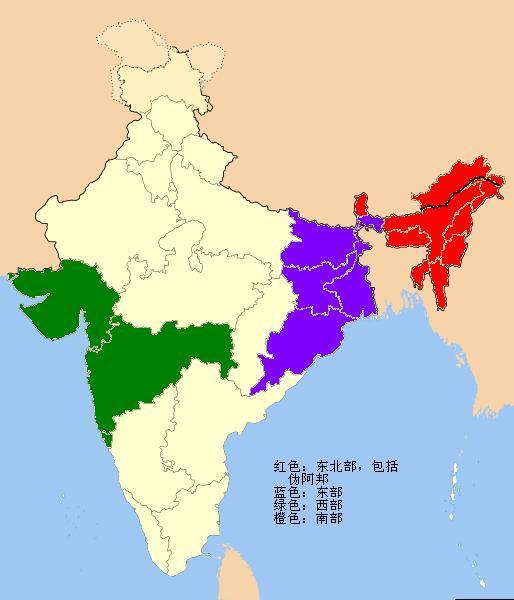 印度东北七邦面积人口_印度东北各邦与中国有何渊源