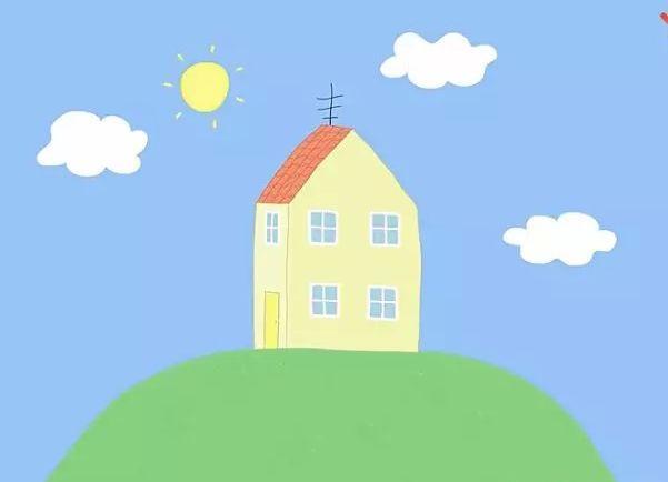 处在半山腰的自带小花园的两层小洋楼,就是佩奇的家.图片