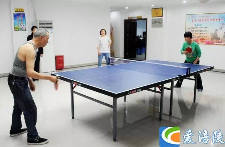 老人在室内打乒乓球图片