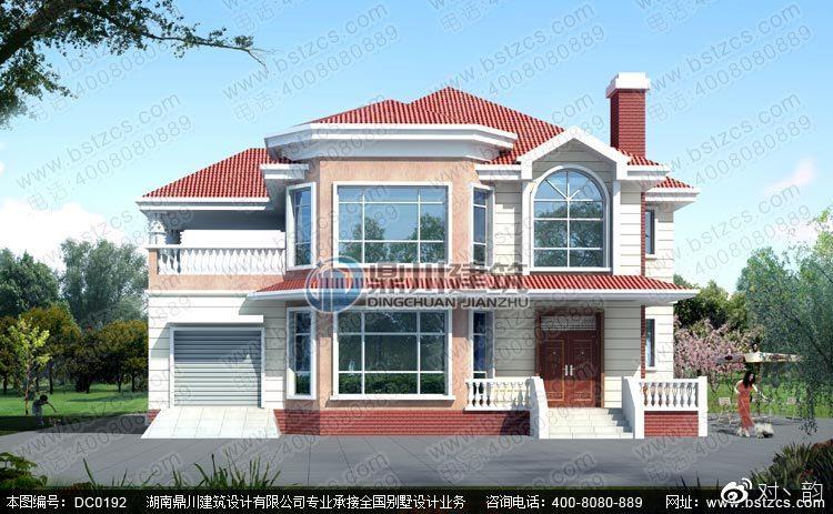 二层带烟囱豪华私人别墅设计图纸及效果图图片