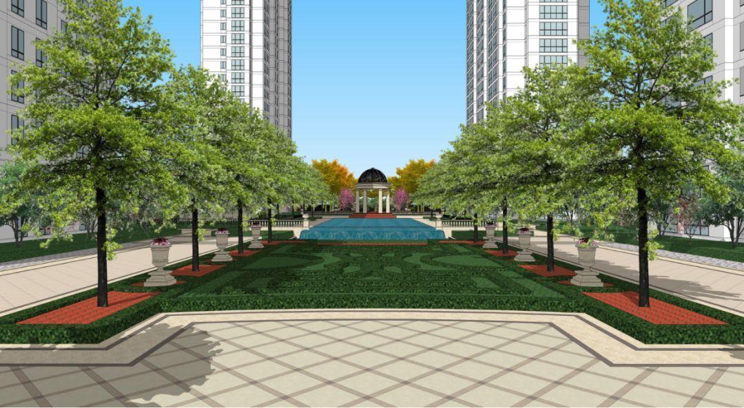在平面的泳池,则是有个非常有花坛感的树阵右边和模纹仪式.小型咖啡店广场设计图图片