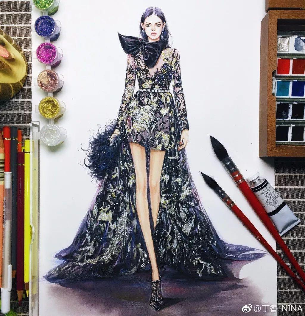 时尚 正文  如何画好服装手绘 画服装手绘就像速写一样 注意人物的图片