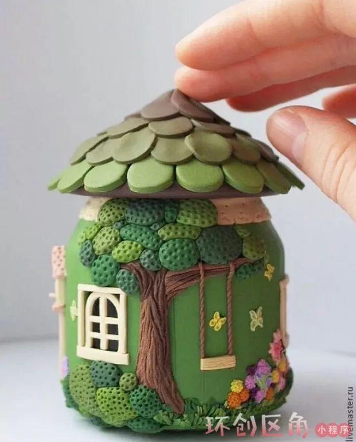 瓶子轻粘土作品囹�a_我们还可以将粘土作品放在瓶子里面哦,效果堪称完美!