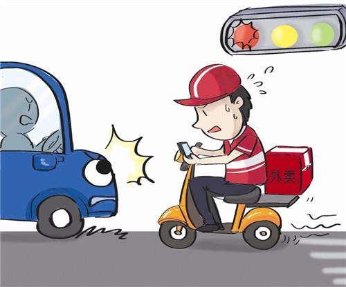 最近一周电动车事故率高发 平均每天有1名外卖小哥出车祸