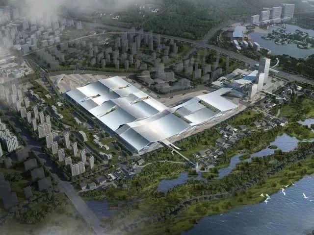 项目定位  城市设计 一轴 柯桥展会贸易发展轴。以会展中心为核心,西侧连接中纺CBD片区,东侧连接会议中心并向东拓展,打造柯桥展会贸易发展轴。 三点 在用地西端、中部、东端三点建设人行空中连接,完善中轴系统, 同时与河岸景观带共同形成景观空间节点。 两面 沿用地北侧与中纺CBD共同打造会展中心片区门户界面。 沿用地南侧与三江大河共同营造滨水景观休闲带, 提升城市公共空间服务品质  一二期总平面   设计生成 建筑 形态设计遵循功能需求,拒绝夸张的形式表达。着重对绍兴传统元素通过现代演绎。   水配套部