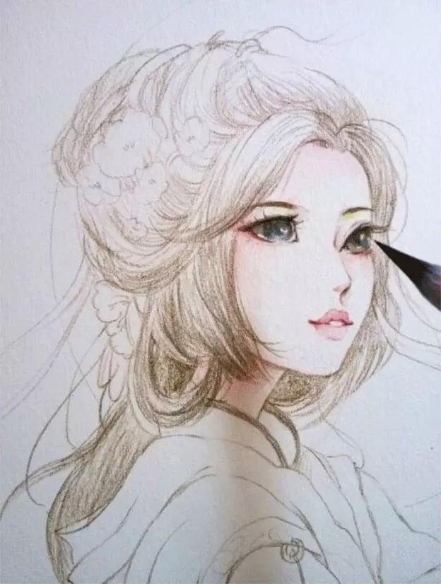 古风美女水彩画,看完教程给自己也画一个