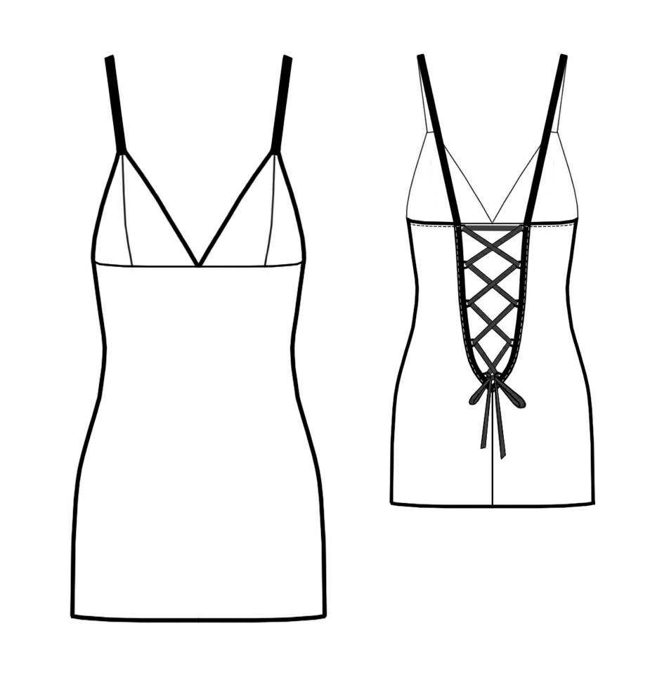 8款吊带睡衣的效果图+款式图+制版图图片