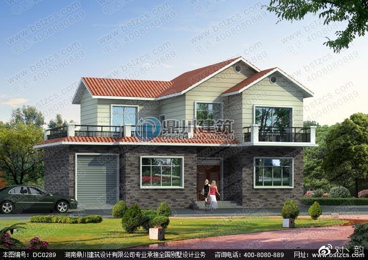 本图纸名称新农村二层带大露台别墅设计效果图.