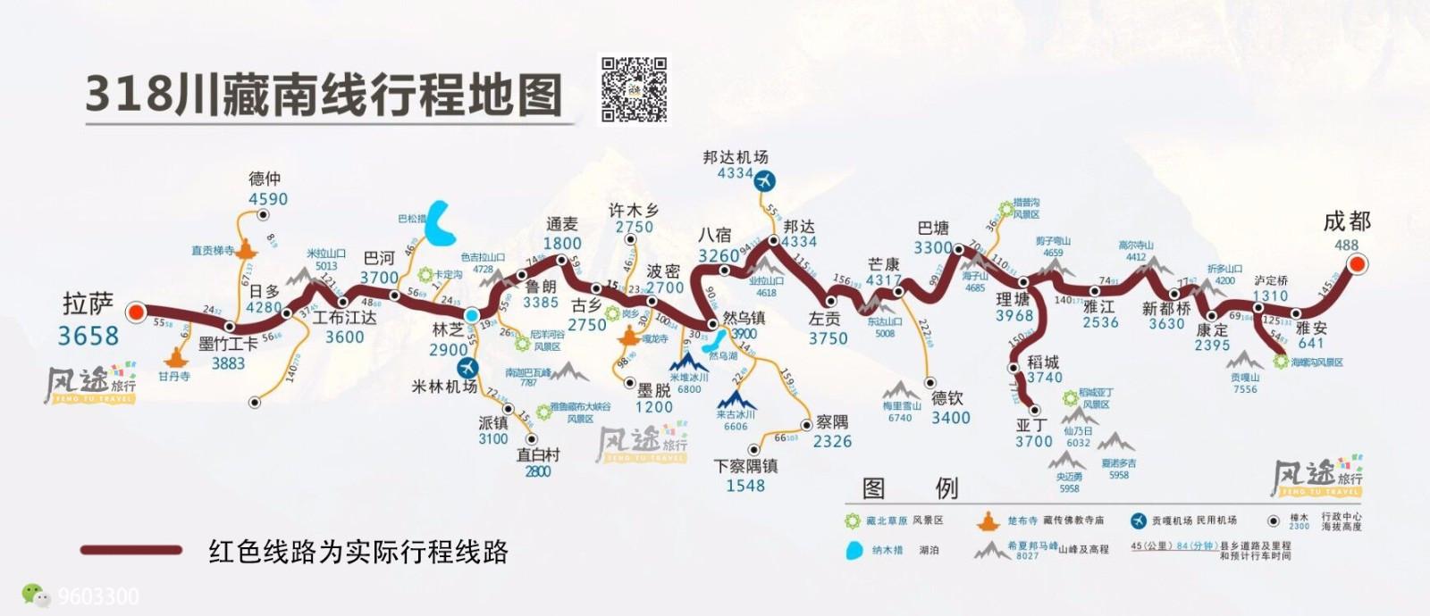 2018川藏线旅游路线图