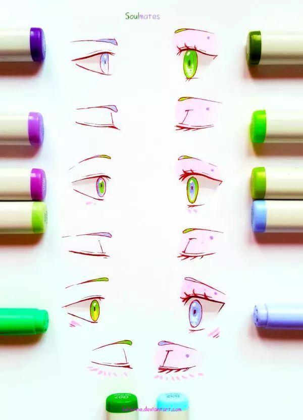 不会马克笔画眼睛 这组配色星空般好看 美到爆 收藏不谢