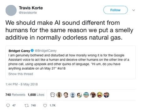 来自推特上的一些对话表明AI的声音不应该模仿人类的音质,AI的身份特征不应该接近人类