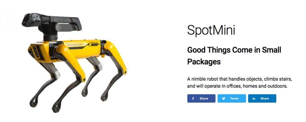 上海直流无刷电机,波士顿动力公司四足机器人 SpotMini 将于明年上市