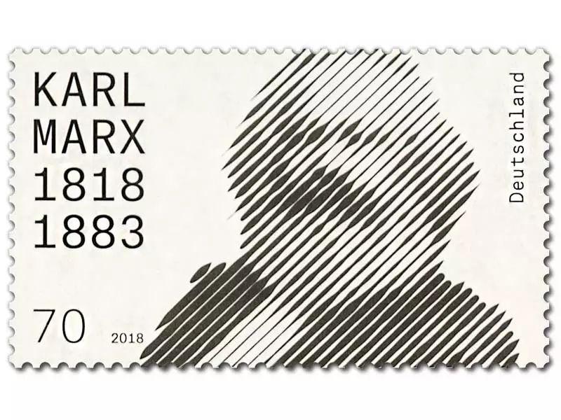 为纪念马克思200周年诞辰,德国邮政署发布了一枚特别的邮票!