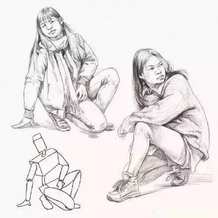 人物速写站姿,坐姿,蹲姿,哪种最难画?图片