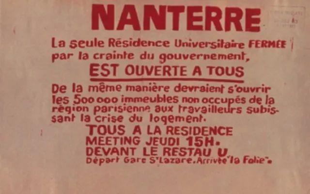 巴黎南泰尔文学院被抗议.图为为关闭南泰尔文学院被关闭而制作的海报.塘字体设计图片