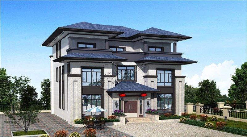 14米x13.5米 三层新中式风格四合院别墅图片