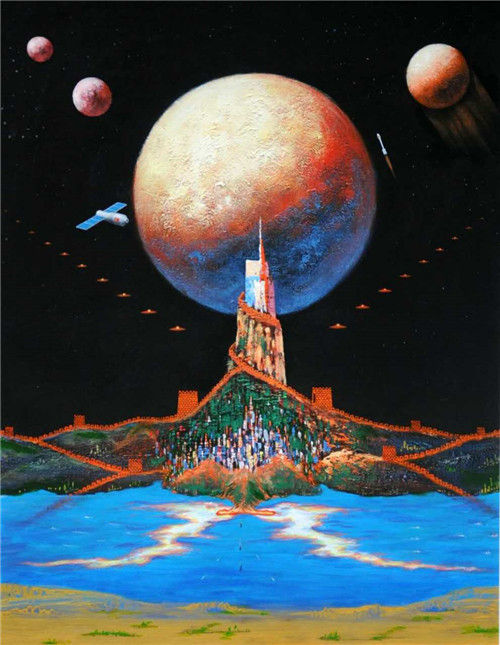 """""""艺术界的天体物理学家""""—著名艺术家金力《太空系列》作品赏析"""