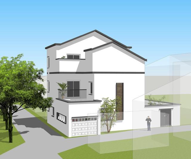 考虑到项目位于南方,屋顶设计成有较好排水能力的坡屋顶.