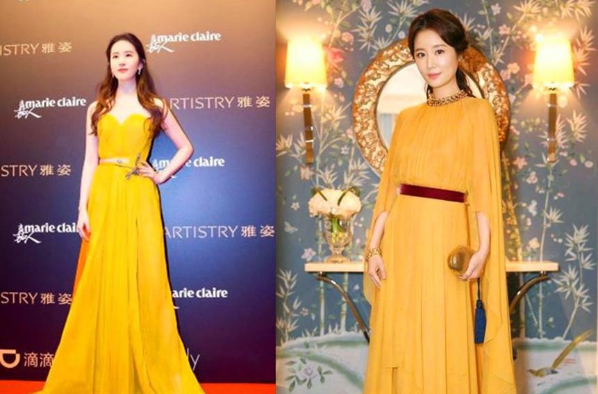 林心如厉害!与刘亦菲同穿黄色长裙都没输,网友:气质差距有点大图片