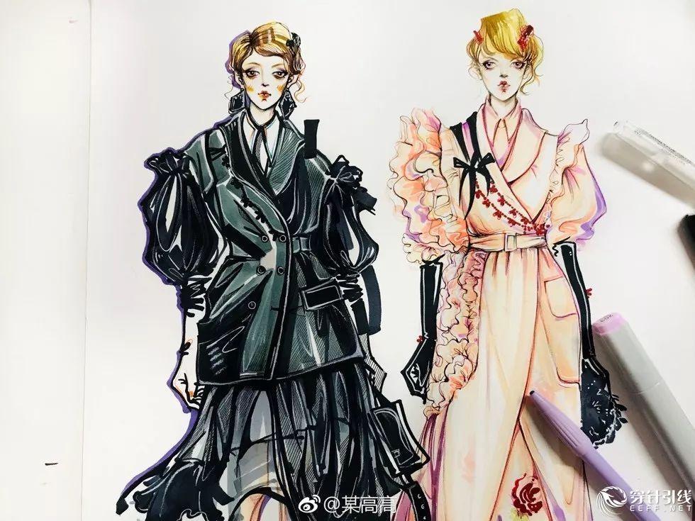 时装手绘 | 马克笔服装效果图,步骤图