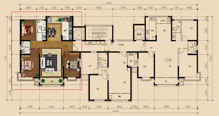 133平米e户型 三室两厅两卫