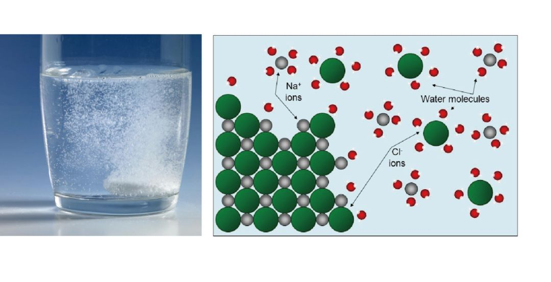 由于水是强极性分子,它作为溶剂(solvent)能使很多盐发生溶解(图1)