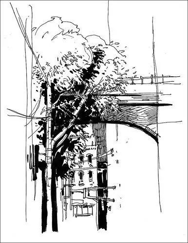 用点线面画一幅画简单_速写教程:如何画好一幅风景速写?