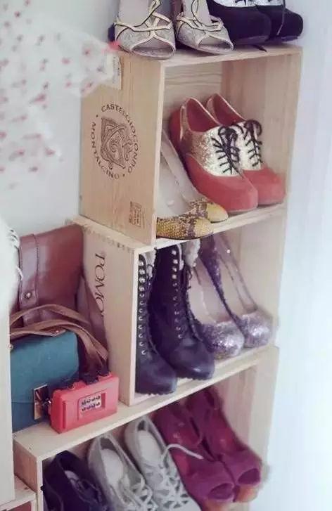 旧木箱diy挂壁鞋架