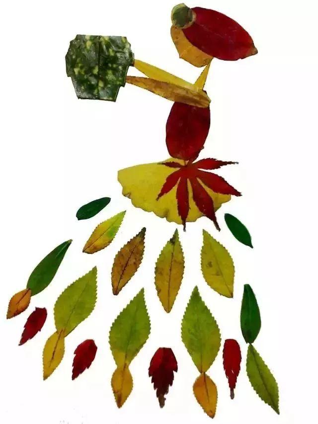 树叶粘贴画作品欣赏   6.拓印画   材料:   颜料、画纸   材料:   彩色卡纸、白色乳胶、各种树叶、黑色马克笔   玩法   :在纸上画出作品轮廓,将不同颜色形状的叶子,按需粘贴到纸上,最后用马克笔画点缀.