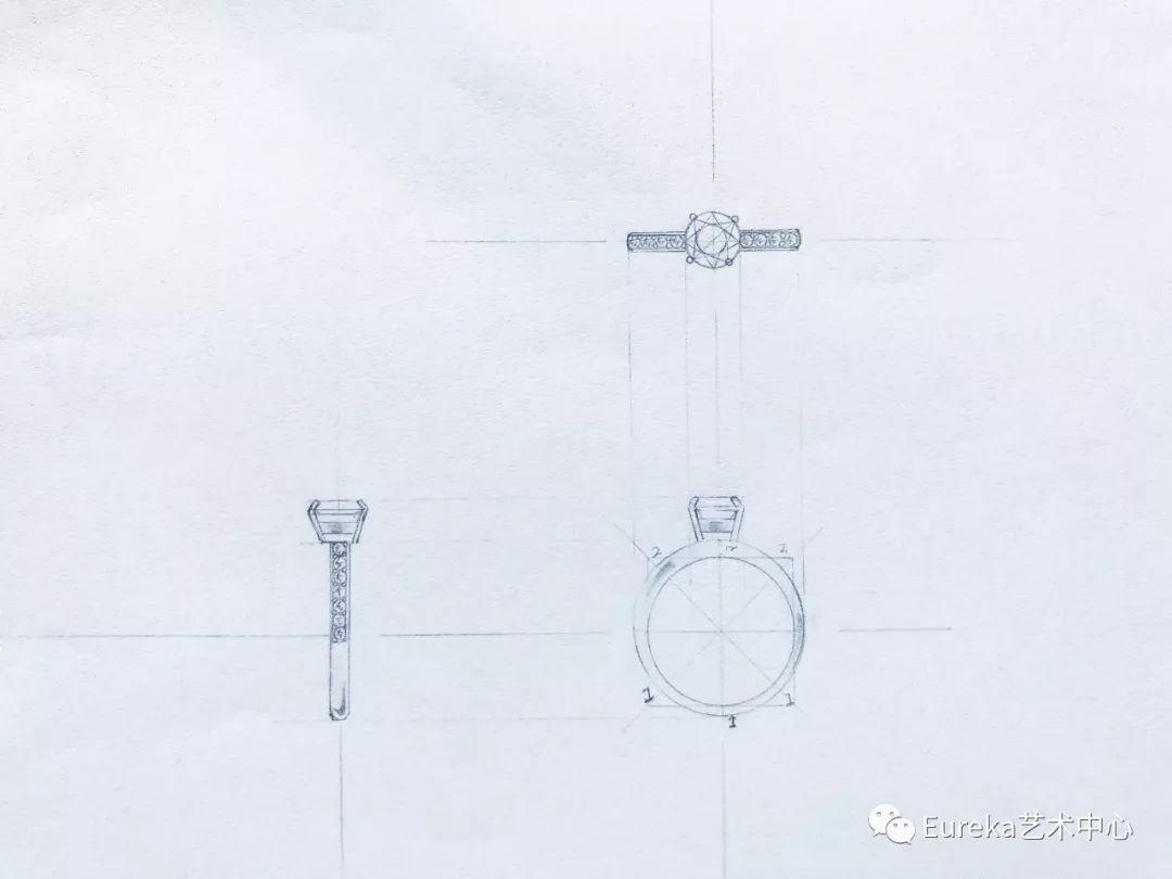 传统珠宝手绘三视图手稿