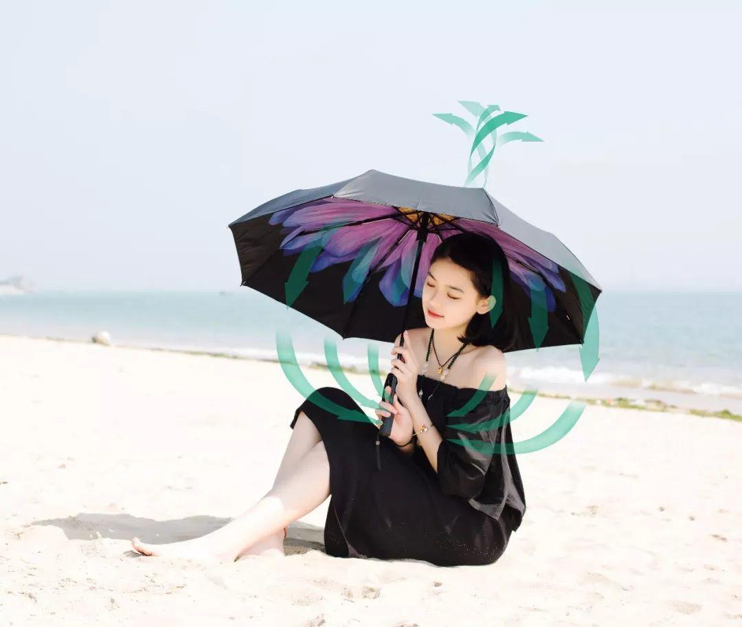半个娱乐圈都在用小黑伞?伞内降温13度,堪称移动小空调!99%阻隔紫外线,夏天白成一道光!