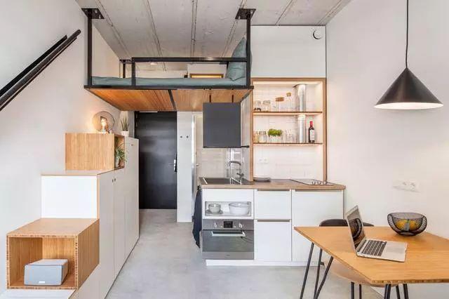 这是一个套内面积为18平方米的蜗居,本来是一个单间办公室,经过设计图片