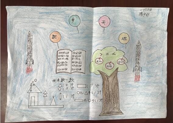 荣小举行一年级数学学科节——数学手抄报比赛
