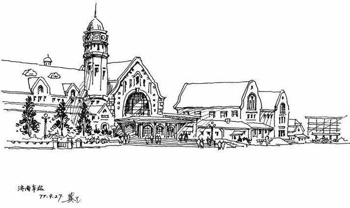 建筑画手绘简单教堂