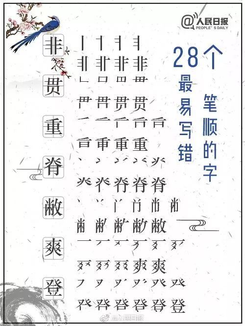 凸的笔画顺序图-28个最易写错笔顺的字