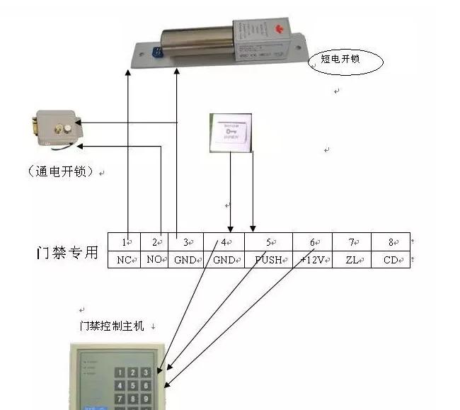 智能安防系统方案 门禁系统接线图