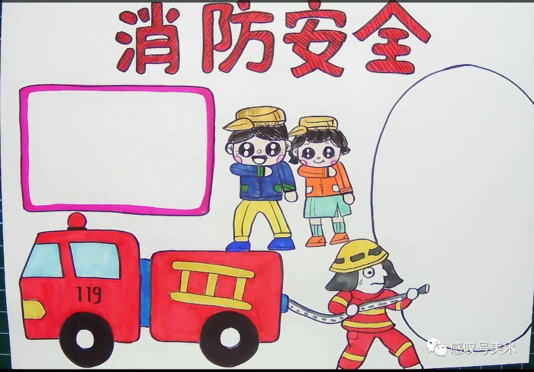 5个步骤简单教会你绘画关于消防安全主题的手抄报图片
