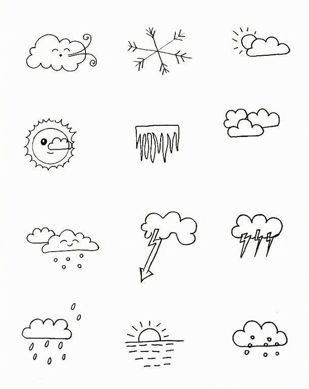 各种天气的简笔画大全 幼儿学画天气简笔画卡通图片 简笔画