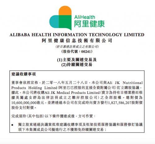 阿里健康宣布_106_亿港元收购天猫医疗器械、保健用品等业务