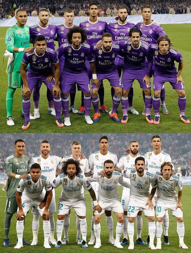 皇马近两届欧冠决赛首发一样,球员合影站位也一样图片
