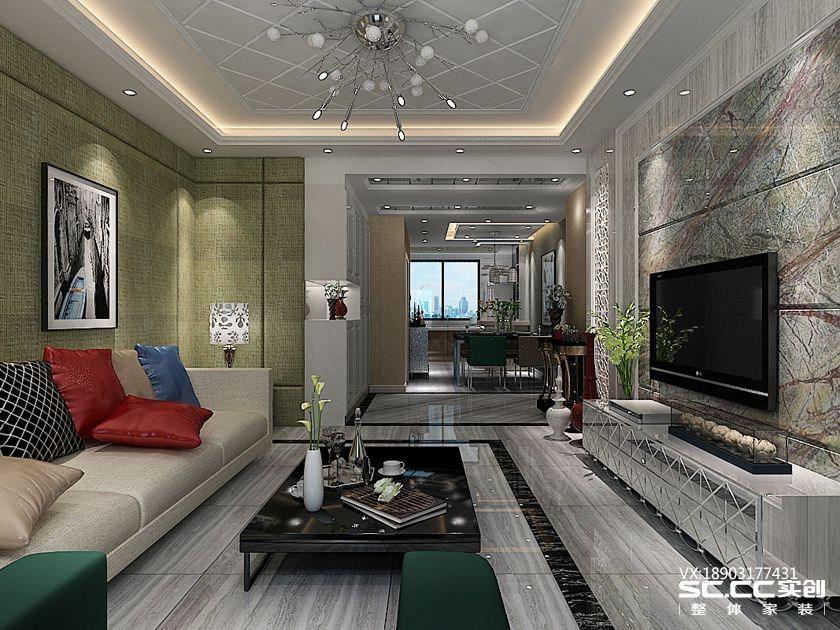 东润城三室两厅一卫115㎡后现代风格装修效果图!