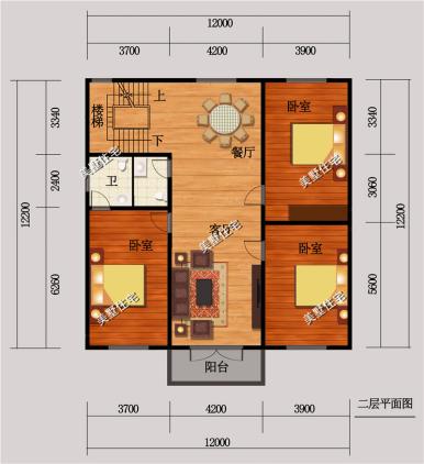 12x12米方正三层别墅户型,6室2厅简欧风,最深受农村图片