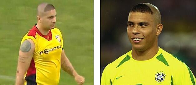 Cầu thủ Romania nhái kiểu tóc hài hước của Ro béo