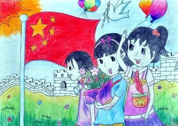 六一儿童节图画六:升国旗