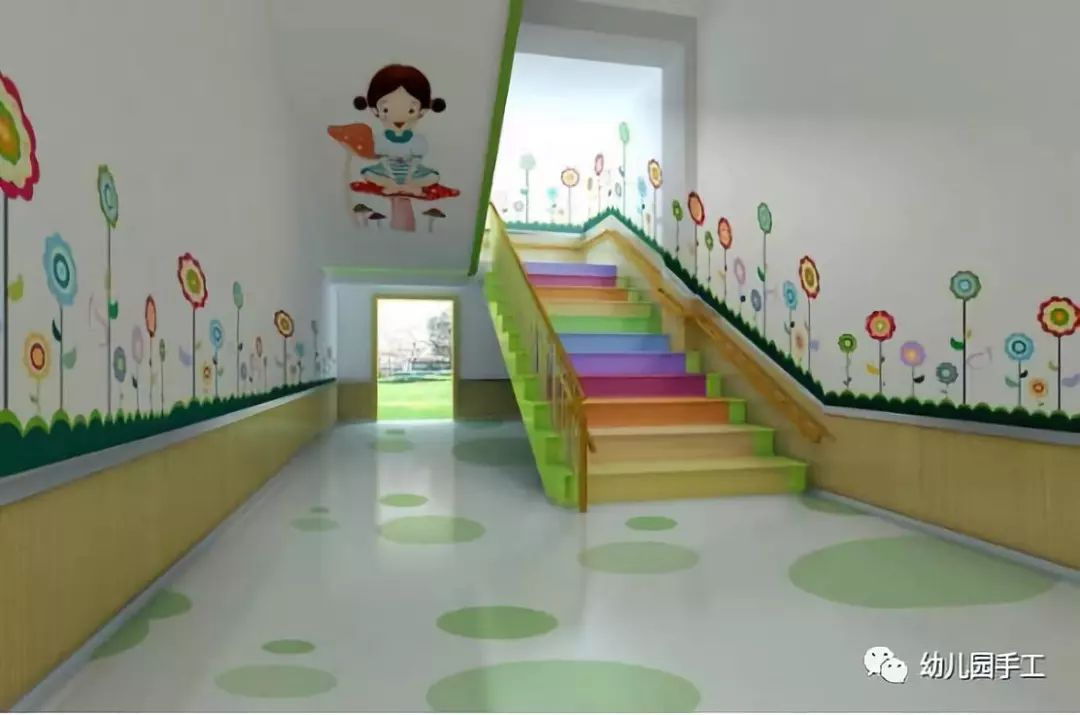 小莉老师这么贴心 夏季创意楼梯环创 幼儿园墙面布置在幼儿教育中具有