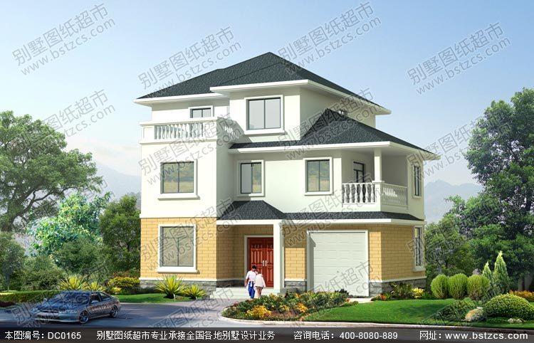 三层带车库及复式客厅别墅设计效果图及施工图图片