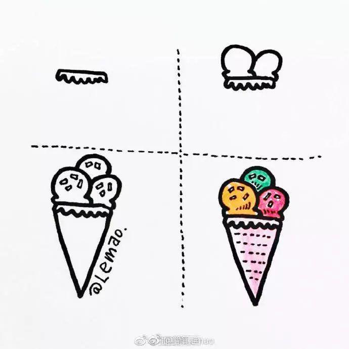 手绘插画-夏日冰淇淋简笔画教程