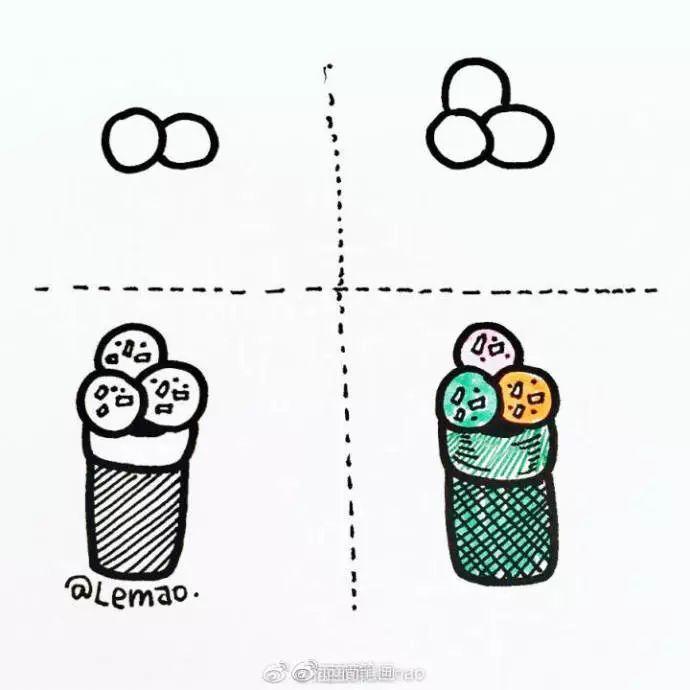 手绘插画 夏日冰淇淋简笔画教程