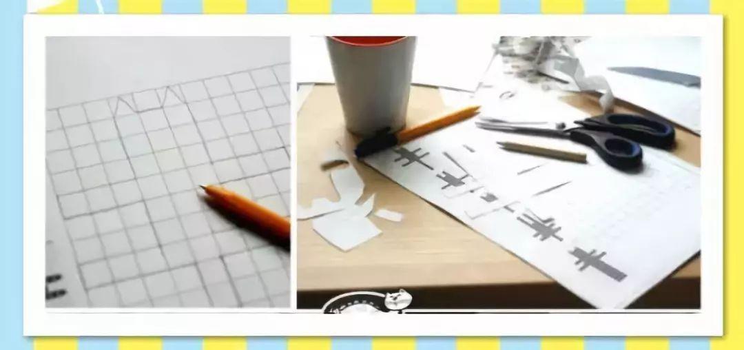 格子本上画出猫的形状,猫的身子、四肢、尾巴都是长方形,耳朵是三角形~