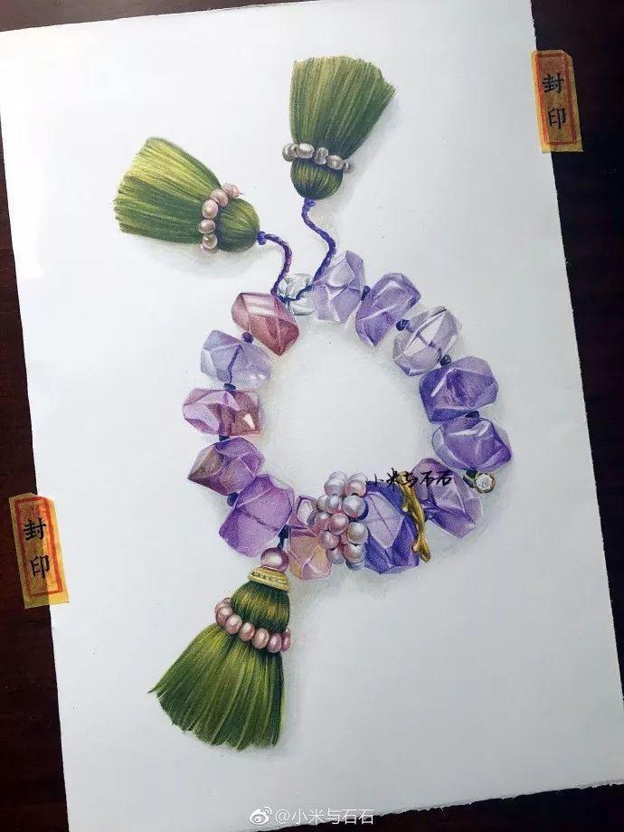 彩铅步骤 | 画一个超美的水晶小手串图片